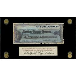 American Express, $50 travelers cheque, 19xx (1950s), serial P37010803, signed by passenger Mary Go
