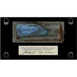 American Express, $20 travelers cheque, 19xx (1950s), serial J21936888, signed by passenger, ex-Mal