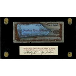 American Express, $10 travelers cheque, 19xx (1950s), serial F33178160, signed by passenger James V.