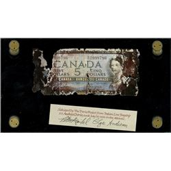 "Ottawa, Canada, Bank of Canada, $5, 1954, serial F/C 2998786, Beattie-Coyne, ""Devil's Face"" note, ve"