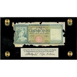 Italy, Banca D'Italia, 500 lire, (1947-48), serial C91 / 071310, ex-Malone.