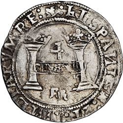 """Mexico City, Mexico, 4 reales, Charles-Joanna, """"Early Series,"""" assayer R (Gothic) at bottom between"""