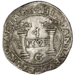 "Mexico City, Mexico, 4 reales, Charles-Joanna, ""Early Series,"" assayer G at bottom between pillars,"