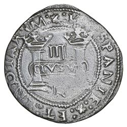 """Mexico City, Mexico, 3 reales, Charles-Joanna, """"Early Series,"""" assayer R (Gothic) at bottom between"""