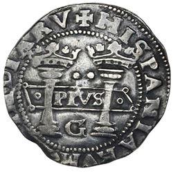 "Mexico City, Mexico, 2 reales, Charles-Joanna, ""Early Series,"" assayer G at bottom between pillars,"