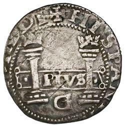 Mexico City, Mexico, 1 real, Charles-Joanna,  Early Series,  assayer G at bottom between pillars, mi