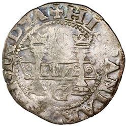 Mexico City, Mexico, 1 real, Charles-Joanna,  Early Series,  assayer G at bottom between pillars, ra