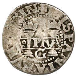 Mexico City, Mexico, 1/2 real, Charles-Joanna,  Early Series,  assayer G at bottom between pillars,