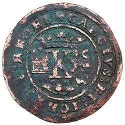 "Mexico City, Mexico, copper 4 maravedis, Charles-Joanna, ""Late Series,"" no assayer (assayer-G period"