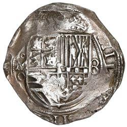 "Mexico City, Mexico, cob 8 reales, Philip II, assayer O to left below mintmark oM, NGC AU 55 (""top p"