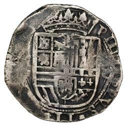 Mexico City, Mexico, cob 8 reales, Philip II, assayer F, floret and pomegranate ornaments in legends