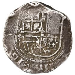 Mexico City, Mexico, cob 8 reales, Philip II, assayer F, mintmark as small figure-8 above M and same