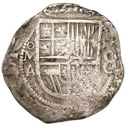 Mexico City, Mexico, cob 8 reales, Philip III, assayer A.