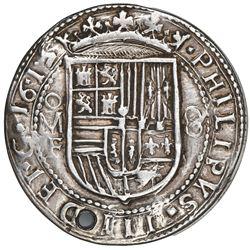 Mexico City, Mexico, cob 8 reales Royal (galano), 1615/4F, very rare (three known), NGC AU details /