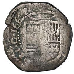 Mexico City, Mexico, cob 8 reales, 1662P, rare.