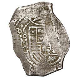 Mexico City, Mexico, cob 8 reales, (16)68G, rare.