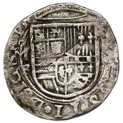 Mexico City, Mexico, cob 4 reales, Philip II, assayer F below mintmark oM to left, denomination o-II