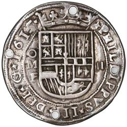 Mexico City, Mexico, cob 2 reales Royal (galano), 1615/4F, unique, ex-Rudman.