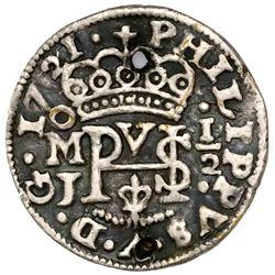Mexico City, Mexico, cob 1/2 real Royal (galano), 1721J, ex-Rudman.