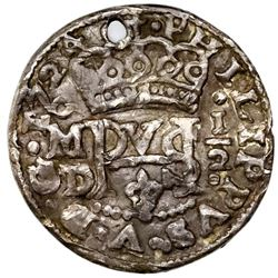 Mexico City, Mexico, cob 1/2 real Royal (galano), 1724D, Philip V, rare.