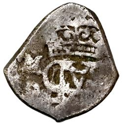 Mexico City, Mexico, cob 1/2 real, Louis I, assayer D, monogram punched over Philip V (very rare).