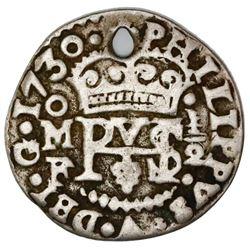 Mexico City, Mexico, cob 1/2 real Royal (galano), 1730F, very rare, ex-Rudman.