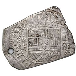 Mexico City, Mexico, klippe 8 reales, 1733MF, with Guatemala sun-over-mountains countermark (Type II