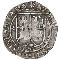 Lima, Peru, 4 reales, Philip II, assayer R to left, motto PL-VSVL-T, legends HISPANIA / NIARVM.