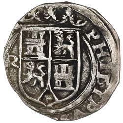 Lima, Peru, 2 reales, Philip II, assayer R (Rincon) to left, motto PL-VSVL-R, rare, ex-Jones (Plate