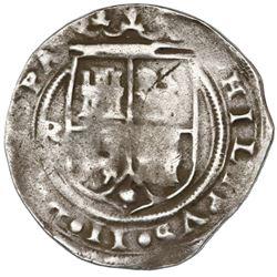 Lima, Peru, 1 real, Philip II, assayer R (Rincon) to left, motto as PL-VSV-TR (no L) above denominat