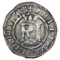 Lima, Peru, 1/2 real, Philip II, assayer R (Rincon) to left, legends HISPAN / IARVM, ex-Jones (Plate
