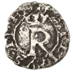 Lima, Peru, 1/4 real, Philip II, assayer R (Rincon) to left, legends HIS / SPANIARVM, very rare, ex-