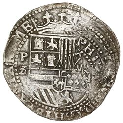 Lima, Peru, cob 8 reales, Philip II, assayer Diego de la Torre, P-8 (flat-top) to left, (*-oD) to ri
