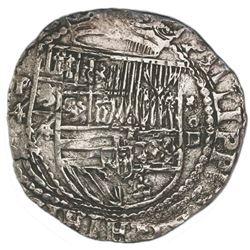 Lima, Peru, cob 4 reales, Philip II, assayer Diego de la Torre, P-4 to left, *-oD to right.