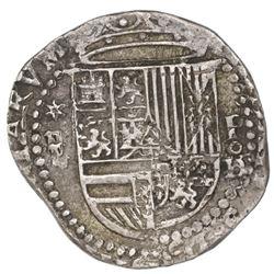 Lima, Peru, cob 2 reales, Philip II, assayer oD/X below mintmark P to right, * above denomination ii
