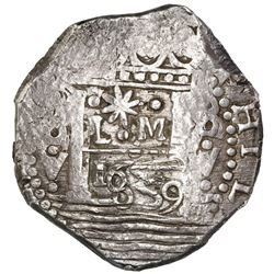 """Lima, Peru, cob 8 reales, 1659V, """"Star of Lima"""" type, Series II (star with three surrounding dots, m"""