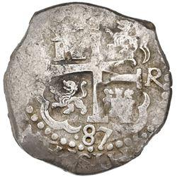 Lima, Peru, cob 8 reales, 1687R, ex-Portola.