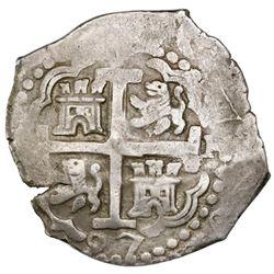 Lima, Peru, cob 4 reales, 1697H, rare.
