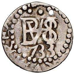 Lima, Peru, cob 1/2 real Royal (galano), 1733N, very rare, NGC XF details / holed.
