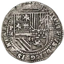 Potosi, Bolivia, cob 8 reales, Philip II, assayer M to left, very rare, ex-Atocha Research Collectio