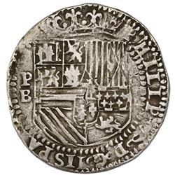 "Potosi, Bolivia, cob 8 reales, Philip II, assayer B (2nd period), ""Great Module,"" ex-Jones (Plate Co"