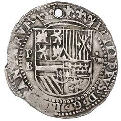 "Potosi, Bolivia, cob 8 reales, Philip II, assayer B (2nd period), ""Great Module,"" ex-Gardini."