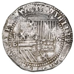 Potosi, Bolivia, cob 8 reales, Philip II, assayer B (2nd period), king's name misspelled as PHILPPVS