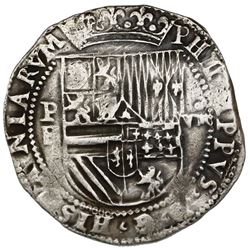 "Potosi, Bolivia, cob 8 reales, Philip II, assayer B (2nd period), ""Great Module."""