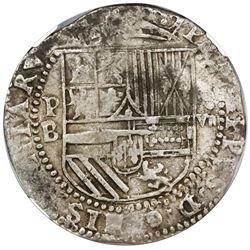 "Potosi, Bolivia, cob 8 reales, Philip II, assayer B (2nd period, ""Great Module""), NGC XF 45."