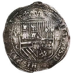 Potosi, Bolivia, cob 8 reales, Philip II, assayer C below erasure, very rare, ex-Jones (Plate Coin).