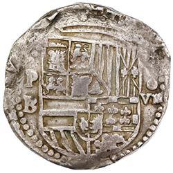 Potosi, Bolivia, cob 8 reales, Philip II, assayer B (4th period), ex-Jones.