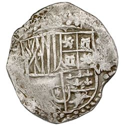 Potosi, Bolivia, cob 8 reales, Philip IV, assayer not visible (T, ca. 1622), upper half of shield an