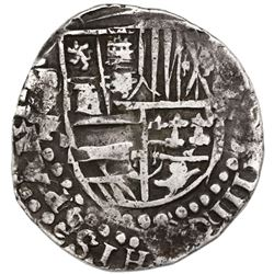 Potosi, Bolivia, cob 8 reales, Philip IV, assayer T (ca. 1622), quadrants of cross transposed.