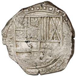Potosi, Bolivia, cob 8 reales, (1)631T, cross-fleury ornament after date.